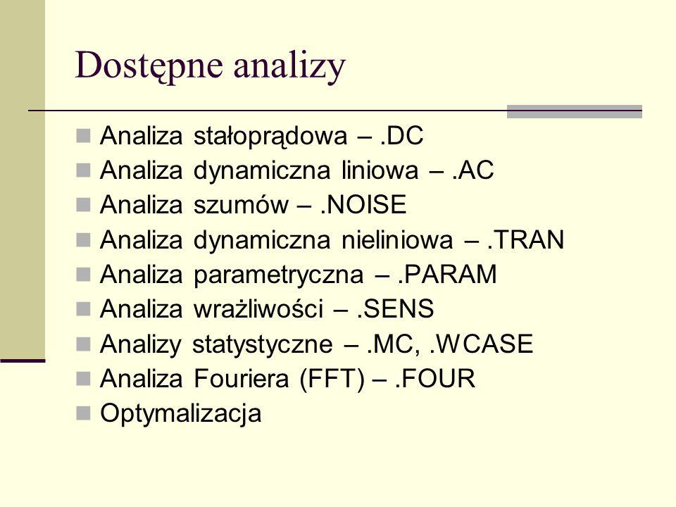 Dostępne analizy Analiza stałoprądowa –.DC Analiza dynamiczna liniowa –.AC Analiza szumów –.NOISE Analiza dynamiczna nieliniowa –.TRAN Analiza parametryczna –.PARAM Analiza wrażliwości –.SENS Analizy statystyczne –.MC,.WCASE Analiza Fouriera (FFT) –.FOUR Optymalizacja