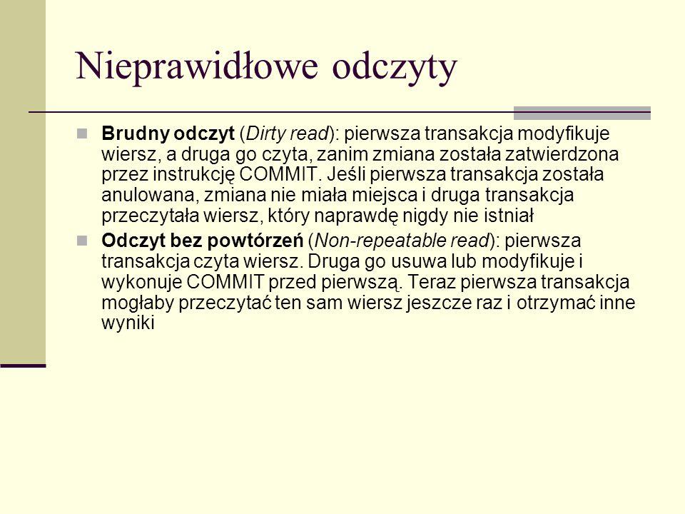 Nieprawidłowe odczyty Brudny odczyt (Dirty read): pierwsza transakcja modyfikuje wiersz, a druga go czyta, zanim zmiana została zatwierdzona przez ins