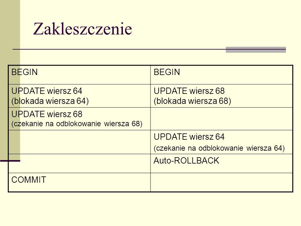 Zakleszczenie BEGIN UPDATE wiersz 64 (blokada wiersza 64) UPDATE wiersz 68 (blokada wiersza 68) UPDATE wiersz 68 (czekanie na odblokowanie wiersza 68)