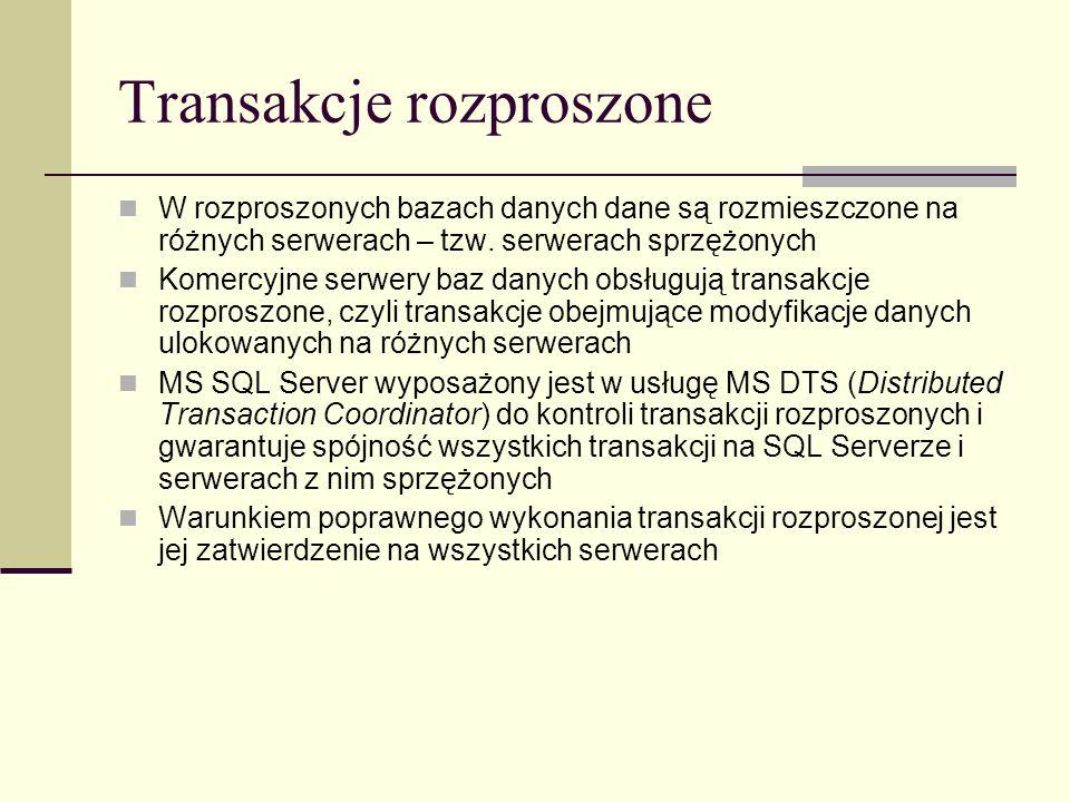 Transakcje rozproszone W rozproszonych bazach danych dane są rozmieszczone na różnych serwerach – tzw. serwerach sprzężonych Komercyjne serwery baz da
