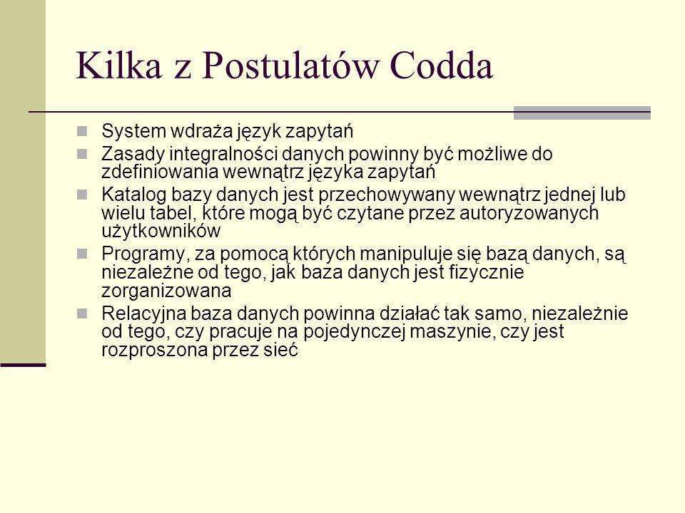 Kilka z Postulatów Codda System wdraża język zapytań Zasady integralności danych powinny być możliwe do zdefiniowania wewnątrz języka zapytań Katalog