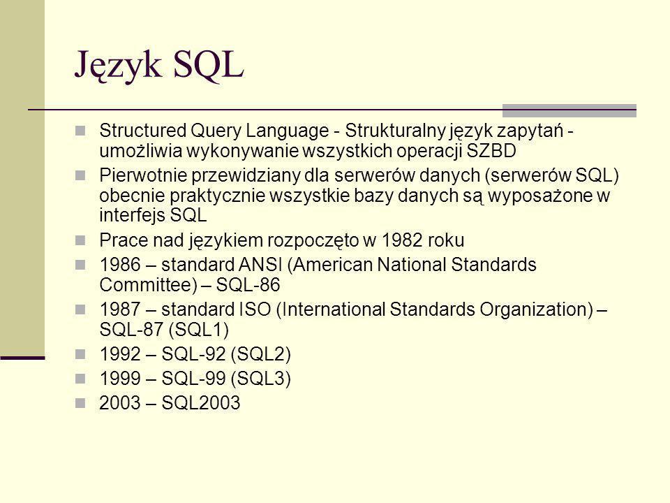 Język SQL Structured Query Language - Strukturalny język zapytań - umożliwia wykonywanie wszystkich operacji SZBD Pierwotnie przewidziany dla serwerów