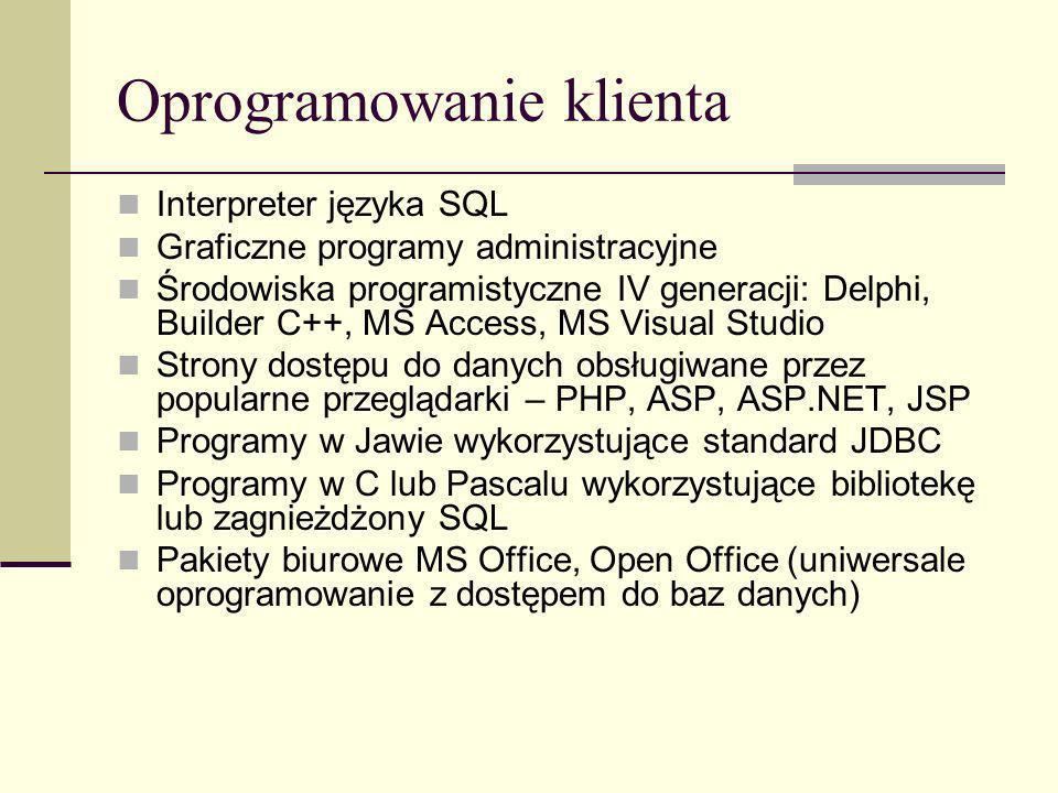 Oprogramowanie klienta Interpreter języka SQL Graficzne programy administracyjne Środowiska programistyczne IV generacji: Delphi, Builder C++, MS Acce