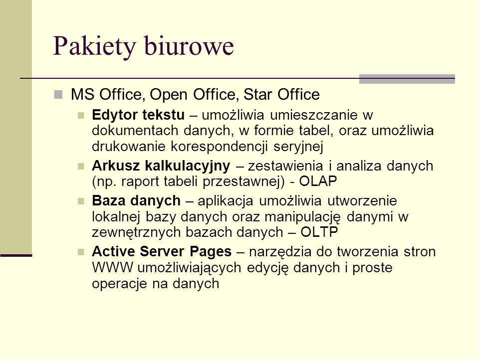 Pakiety biurowe MS Office, Open Office, Star Office Edytor tekstu – umożliwia umieszczanie w dokumentach danych, w formie tabel, oraz umożliwia drukow