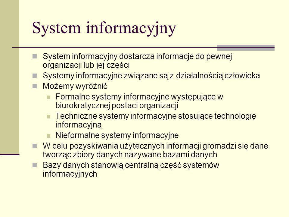 System informacyjny System informacyjny dostarcza informacje do pewnej organizacji lub jej części Systemy informacyjne związane są z działalnością czł