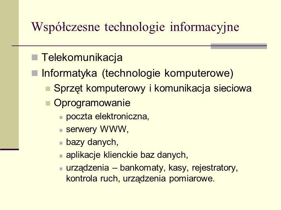 Współczesne technologie informacyjne Telekomunikacja Informatyka (technologie komputerowe) Sprzęt komputerowy i komunikacja sieciowa Oprogramowanie po