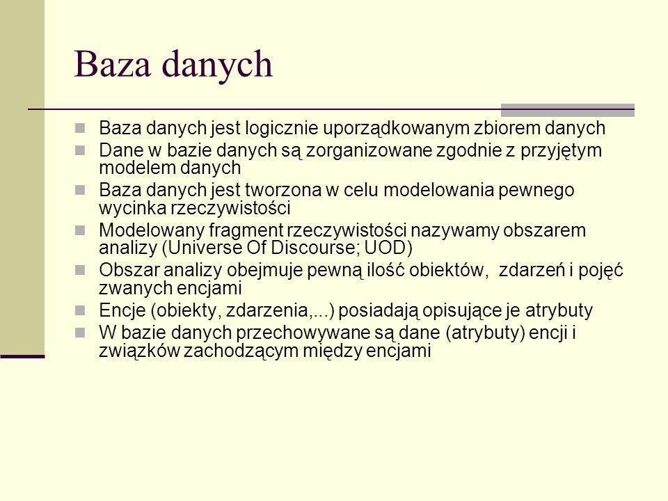 Baza danych Baza danych jest logicznie uporządkowanym zbiorem danych Dane w bazie danych są zorganizowane zgodnie z przyjętym modelem danych Baza dany
