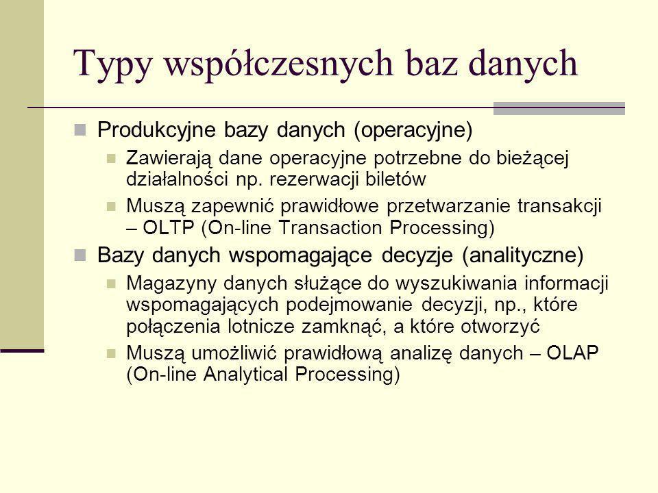 Typy współczesnych baz danych Produkcyjne bazy danych (operacyjne) Zawierają dane operacyjne potrzebne do bieżącej działalności np. rezerwacji biletów