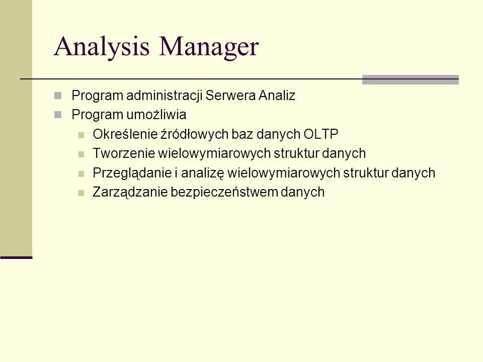 Analysis Manager Program administracji Serwera Analiz Program umożliwia Określenie źródłowych baz danych OLTP Tworzenie wielowymiarowych struktur dany
