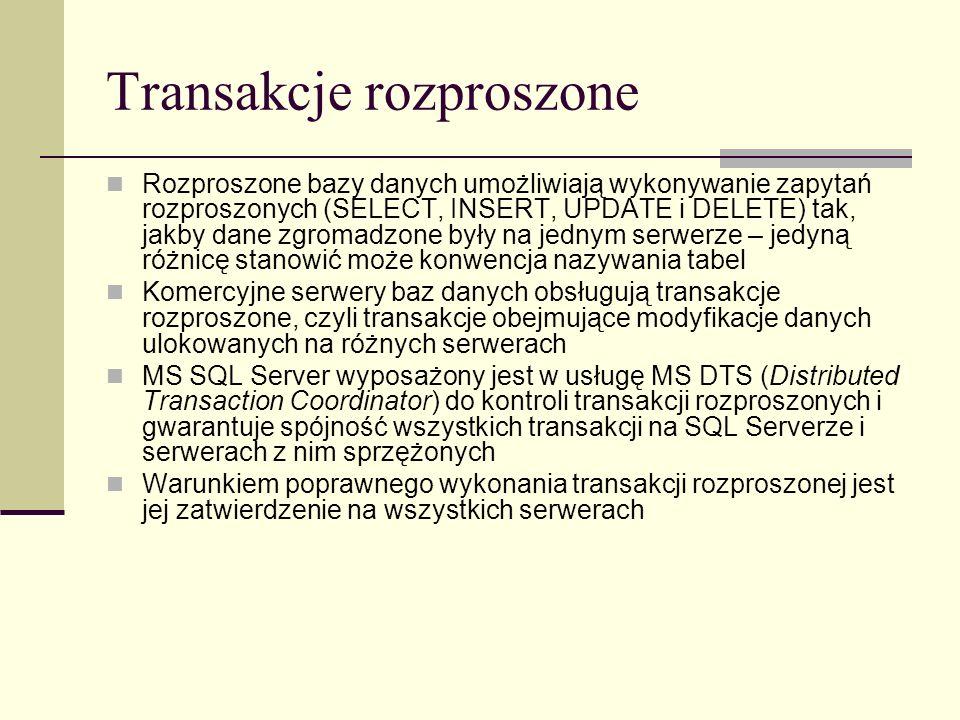 Transakcje rozproszone Rozproszone bazy danych umożliwiają wykonywanie zapytań rozproszonych (SELECT, INSERT, UPDATE i DELETE) tak, jakby dane zgromad