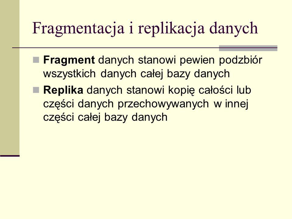 Fragmentacja i replikacja danych Fragment danych stanowi pewien podzbiór wszystkich danych całej bazy danych Replika danych stanowi kopię całości lub