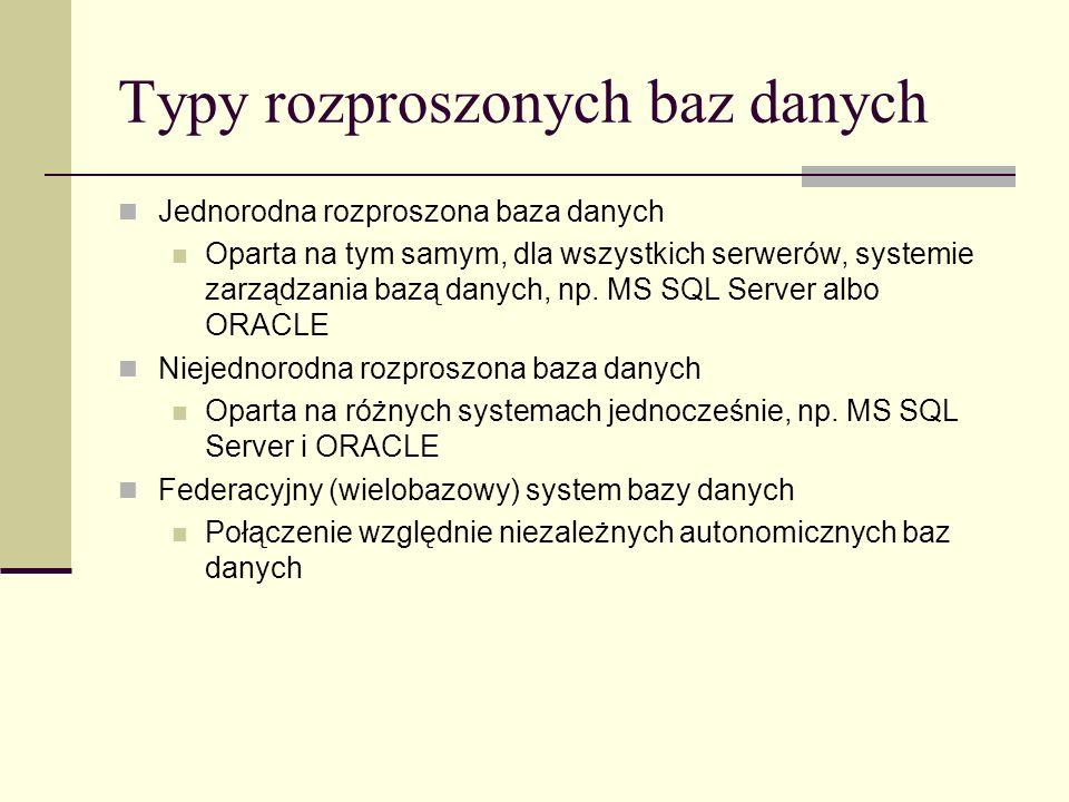 Typy rozproszonych baz danych Jednorodna rozproszona baza danych Oparta na tym samym, dla wszystkich serwerów, systemie zarządzania bazą danych, np. M