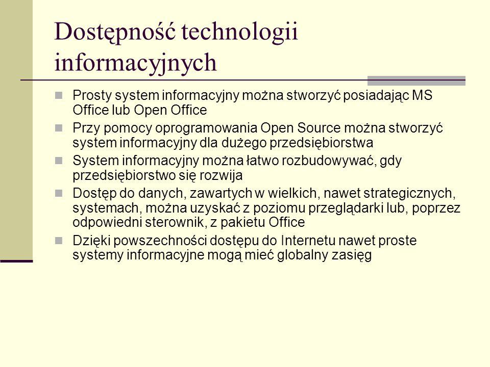 Obieg dokumentów Wszystkie informacje są wprowadzane do systemu jeden raz i przechowywane w formie elektronicznej przez długi okres czasu Jeśli istnieje formalny wymóg tworzenia dokumentów na papierze, to są one drukowane na podstawie danych wpisanych wcześniej do bazy danych Te same dane mogą być umieszczane wielokrotnie w różnych dokumentach i w różnej formie, w zależności od potrzeb Zastosowanie centralnej bazy danych przyspiesza obieg dokumentów Dane publikowane na stronach WWW mogą być dostępne dla wszystkich użytkowników Internetu natychmiast po ich wprowadzeniu