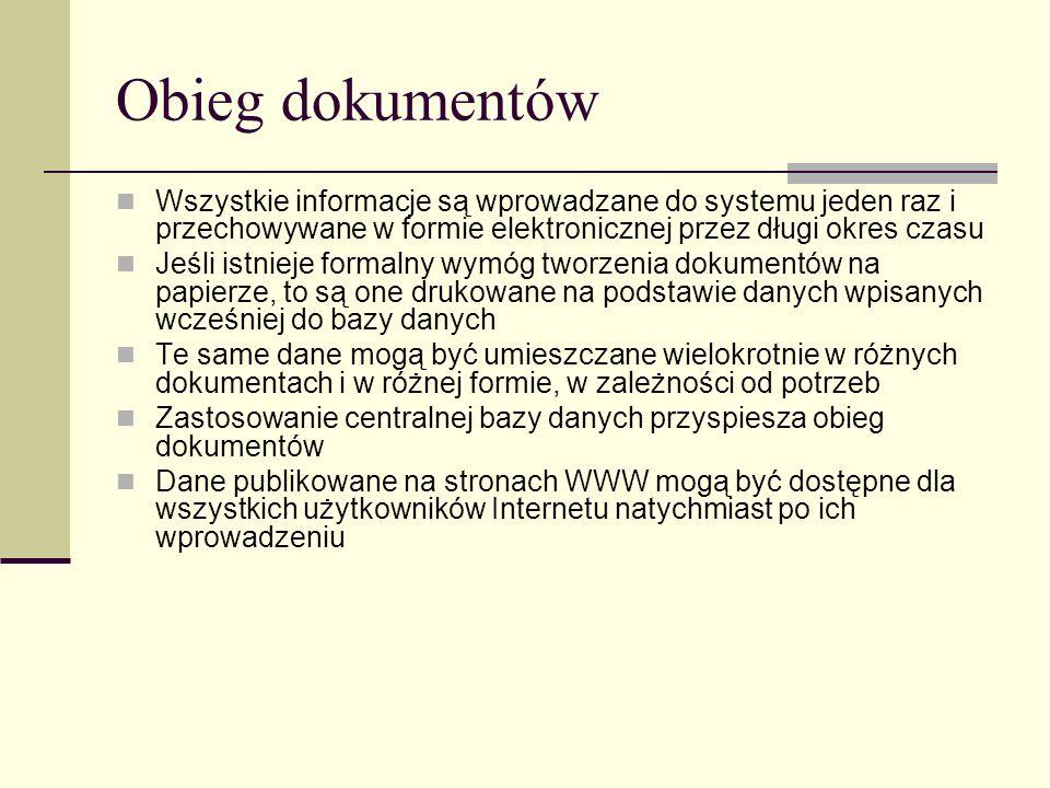 Obieg dokumentów Wszystkie informacje są wprowadzane do systemu jeden raz i przechowywane w formie elektronicznej przez długi okres czasu Jeśli istnie
