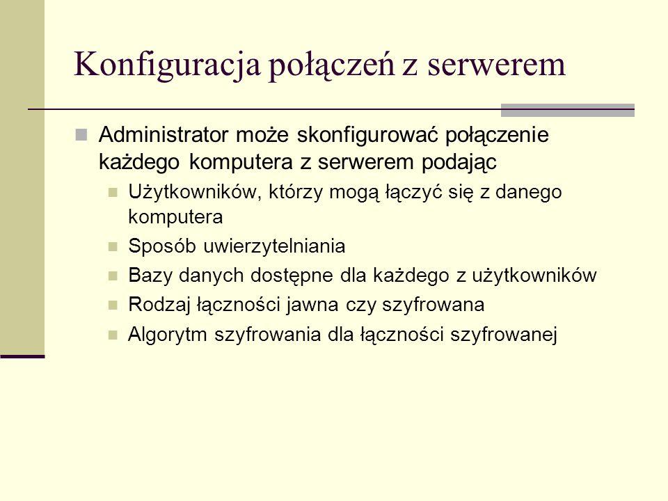 Konfiguracja połączeń z serwerem Administrator może skonfigurować połączenie każdego komputera z serwerem podając Użytkowników, którzy mogą łączyć się