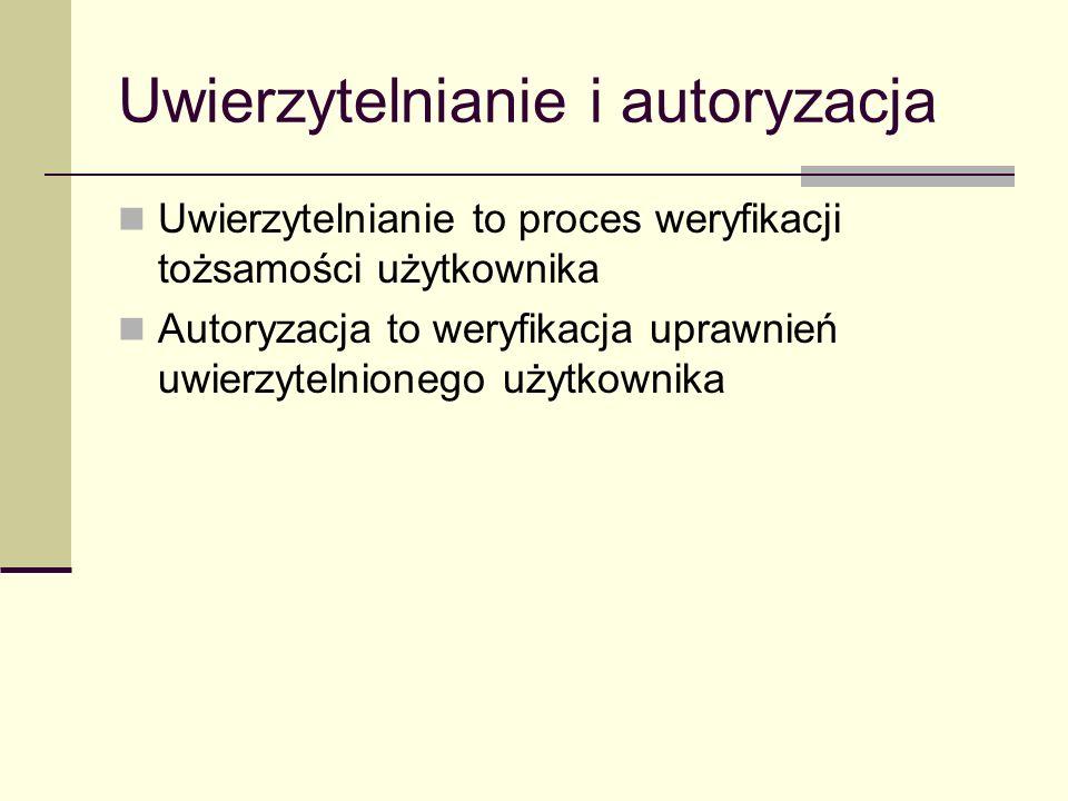 Uwierzytelnianie i autoryzacja Uwierzytelnianie to proces weryfikacji tożsamości użytkownika Autoryzacja to weryfikacja uprawnień uwierzytelnionego uż
