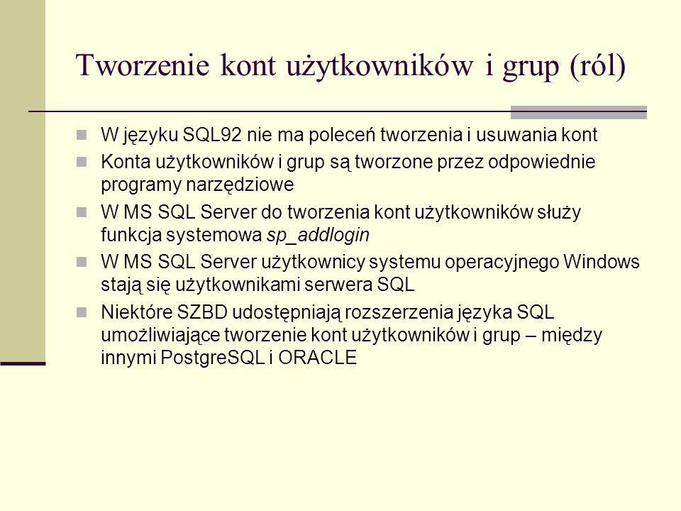Tworzenie kont użytkowników i grup (ról) W języku SQL92 nie ma poleceń tworzenia i usuwania kont Konta użytkowników i grup są tworzone przez odpowiedn