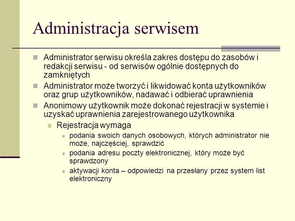 Administracja serwisem Administrator serwisu określa zakres dostępu do zasobów i redakcji serwisu - od serwisów ogólnie dostępnych do zamkniętych Admi