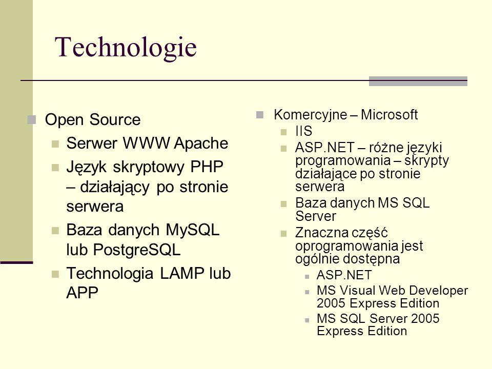 Technologie Open Source Serwer WWW Apache Język skryptowy PHP – działający po stronie serwera Baza danych MySQL lub PostgreSQL Technologia LAMP lub AP