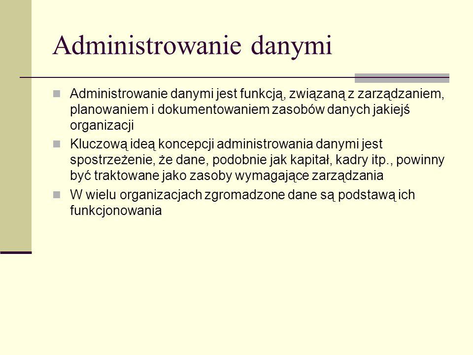 Administrowanie danymi Administrowanie danymi jest funkcją, związaną z zarządzaniem, planowaniem i dokumentowaniem zasobów danych jakiejś organizacji