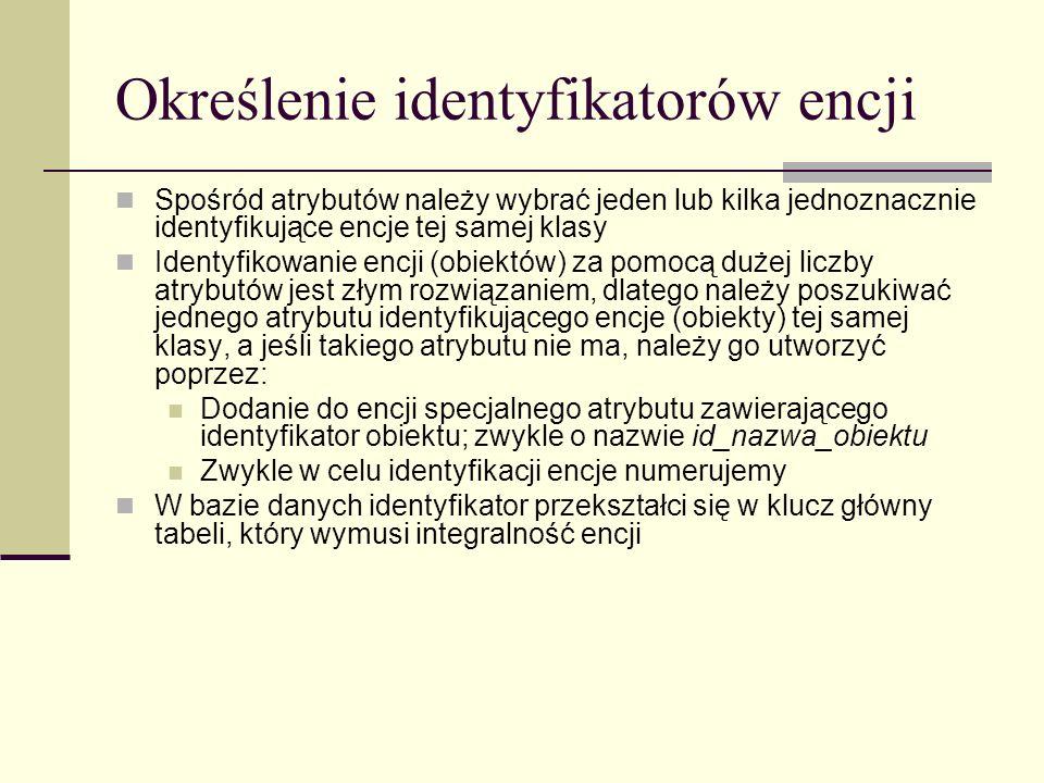 Określenie identyfikatorów encji Spośród atrybutów należy wybrać jeden lub kilka jednoznacznie identyfikujące encje tej samej klasy Identyfikowanie en