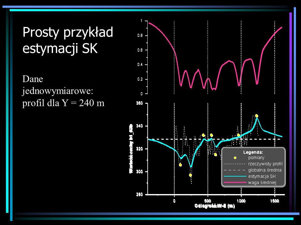 Prosty przykład estymacji SK Dane jednowymiarowe: profil dla Y = 240 m