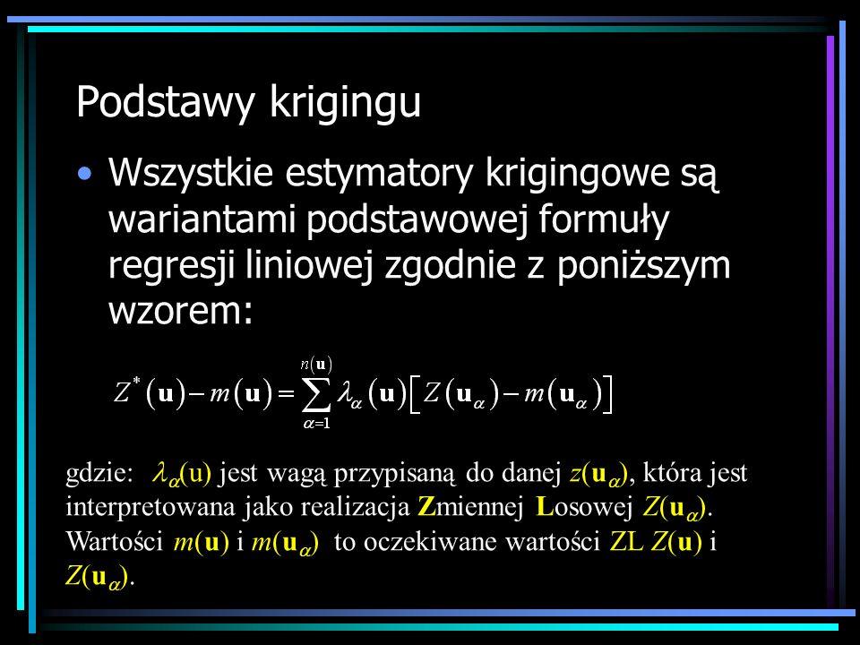 Podstawy krigingu Wszystkie estymatory krigingowe są wariantami podstawowej formuły regresji liniowej zgodnie z poniższym wzorem: gdzie: (u) jest wagą
