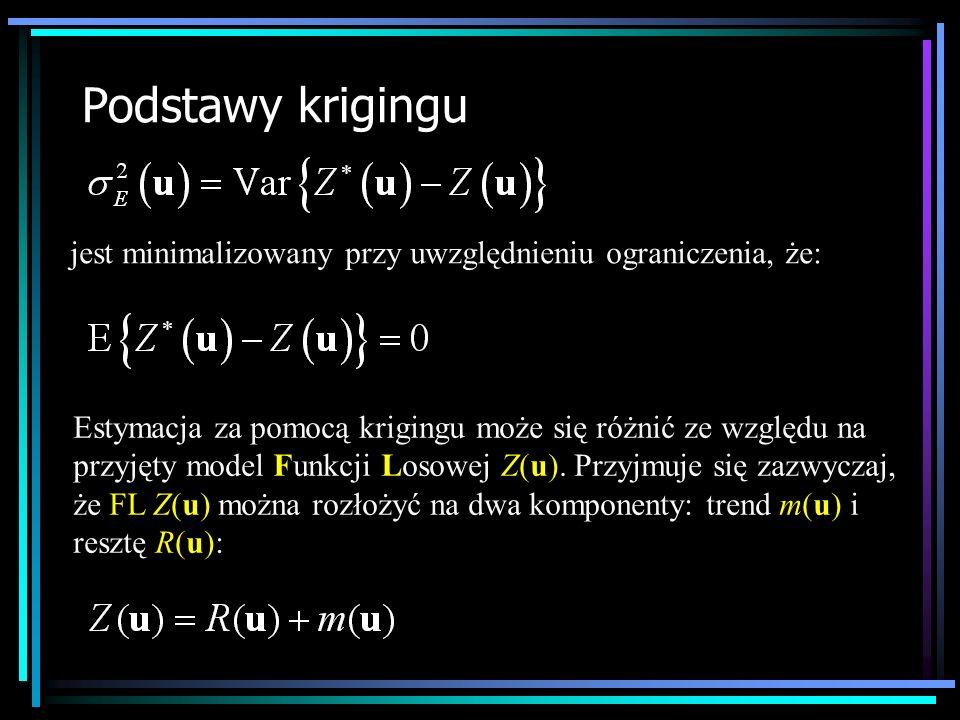 Podstawy krigingu jest minimalizowany przy uwzględnieniu ograniczenia, że: Estymacja za pomocą krigingu może się różnić ze względu na przyjęty model F