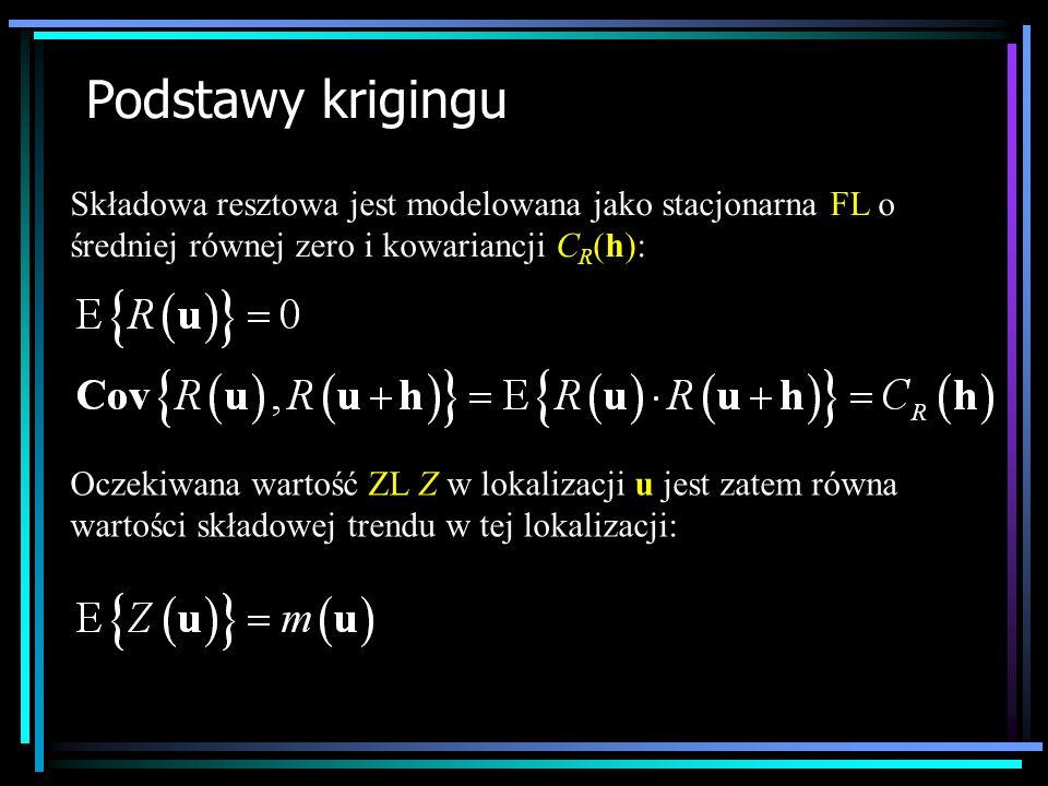 Podstawy krigingu Składowa resztowa jest modelowana jako stacjonarna FL o średniej równej zero i kowariancji C R (h): Oczekiwana wartość ZL Z w lokali