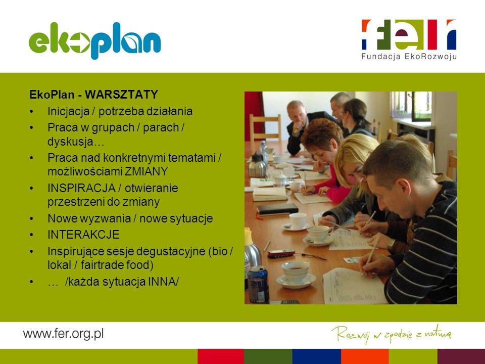 EkoPlan - WARSZTATY Inicjacja / potrzeba działania Praca w grupach / parach / dyskusja… Praca nad konkretnymi tematami / możliwościami ZMIANY INSPIRACJA / otwieranie przestrzeni do zmiany Nowe wyzwania / nowe sytuacje INTERAKCJE Inspirujące sesje degustacyjne (bio / lokal / fairtrade food) … /każda sytuacja INNA/