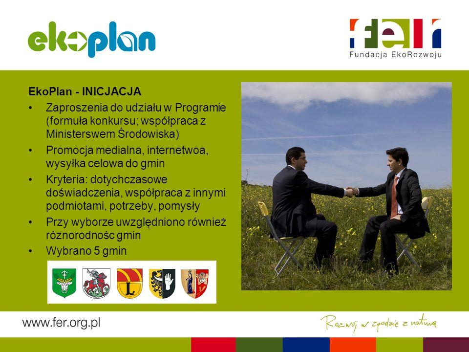 EkoPlan - INICJACJA Zaproszenia do udziału w Programie (formuła konkursu; współpraca z Ministerswem Środowiska) Promocja medialna, internetwoa, wysyłka celowa do gmin Kryteria: dotychczasowe doświadczenia, współpraca z innymi podmiotami, potrzeby, pomysły Przy wyborze uwzględniono również róznorodnośc gmin Wybrano 5 gmin