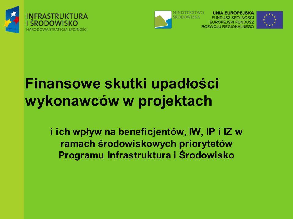 Finansowe skutki upadłości wykonawców w projektach i ich wpływ na beneficjentów, IW, IP i IZ w ramach środowiskowych priorytetów Programu Infrastruktura i Środowisko