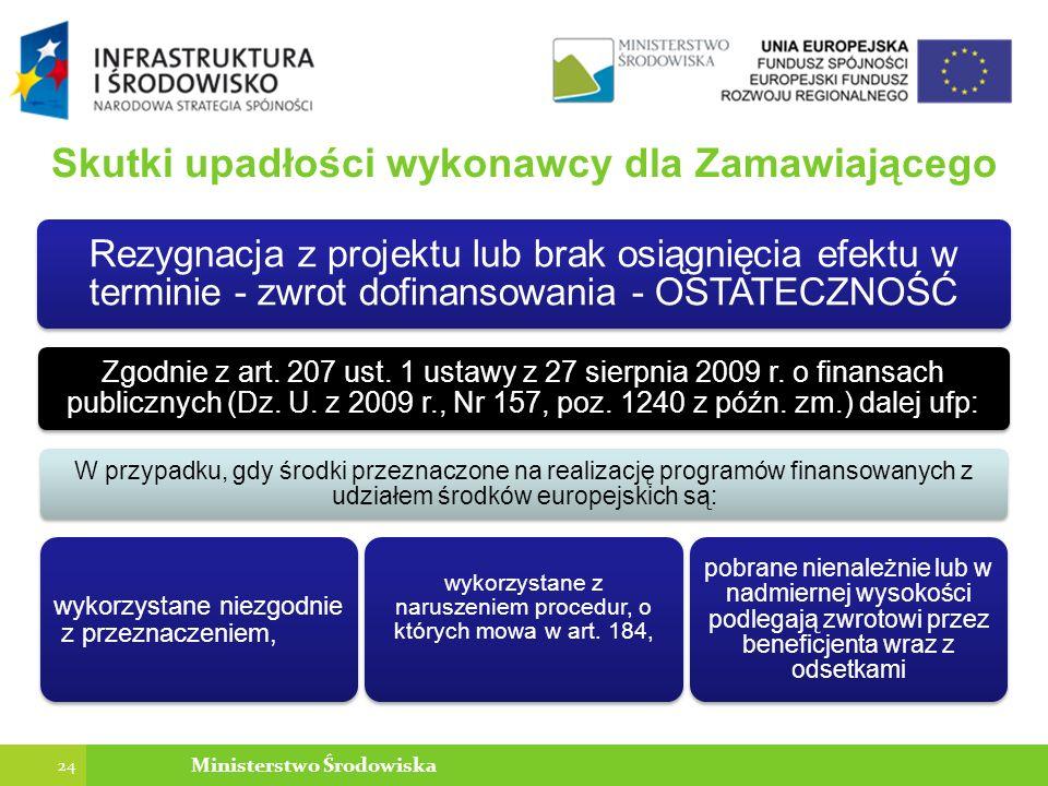 Skutki upadłości wykonawcy dla Zamawiającego Rezygnacja z projektu lub brak osiągnięcia efektu w terminie - zwrot dofinansowania - OSTATECZNOŚĆ Zgodnie z art.