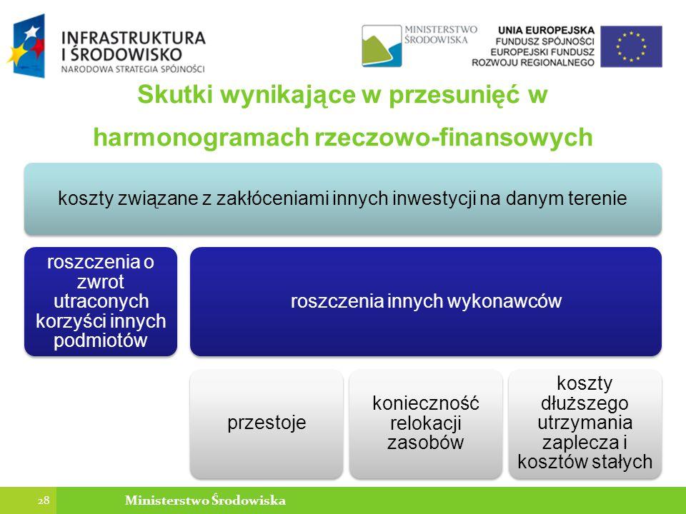 Skutki wynikające w przesunięć w harmonogramach rzeczowo-finansowych koszty związane z zakłóceniami innych inwestycji na danym terenie roszczenia o zwrot utraconych korzyści innych podmiotów roszczenia innych wykonawcówprzestoje konieczność relokacji zasobów koszty dłuższego utrzymania zaplecza i kosztów stałych 28 Ministerstwo Środowiska