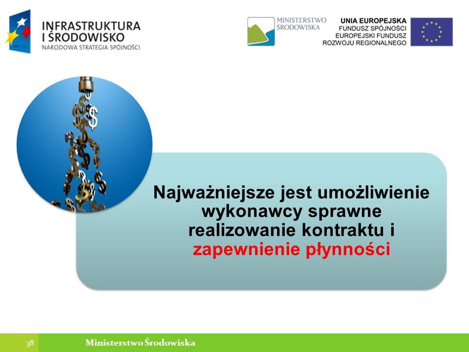 Najważniejsze jest umożliwienie wykonawcy sprawne realizowanie kontraktu i zapewnienie płynności 38 Ministerstwo Środowiska