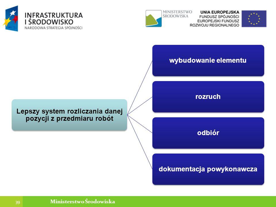 Lepszy system rozliczania danej pozycji z przedmiaru robót wybudowanie elementurozruchodbiór dokumentacja powykonawcza 39 Ministerstwo Środowiska