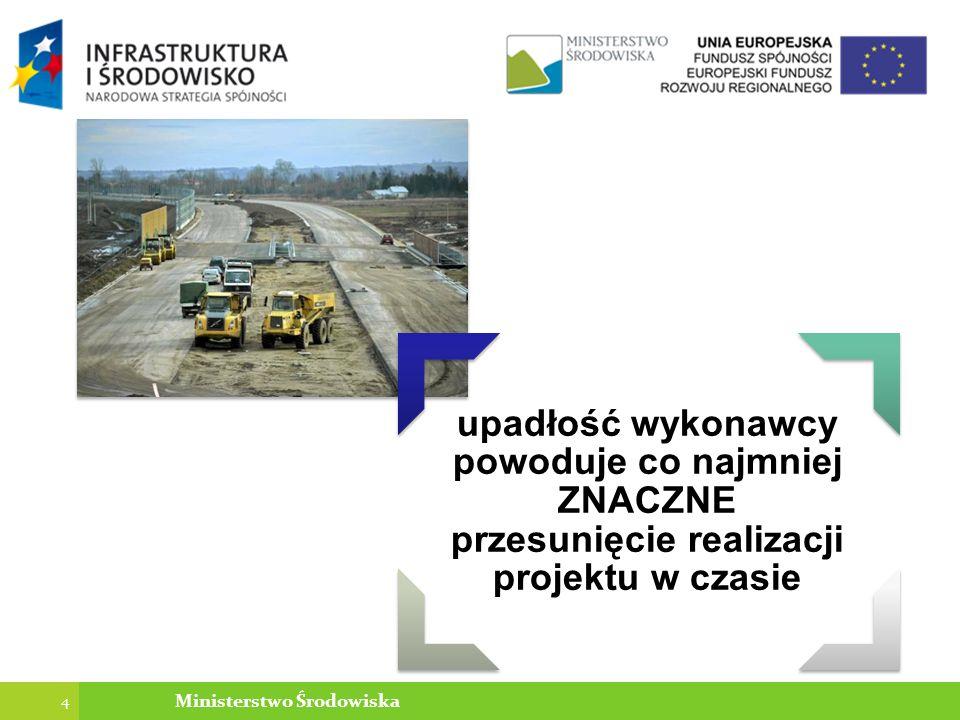 upadłość wykonawcy powoduje co najmniej ZNACZNE przesunięcie realizacji projektu w czasie 4 Ministerstwo Środowiska