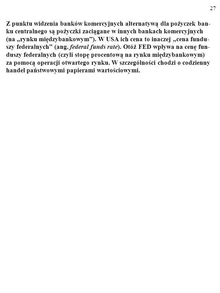 26 3.2. STOPA DYSKONTOWA Stopa dyskontowa stanowi cenę pożyczek banku centralnego dla banków komercyjnych, cierpiących na chwilowy brak pieniądza wiel