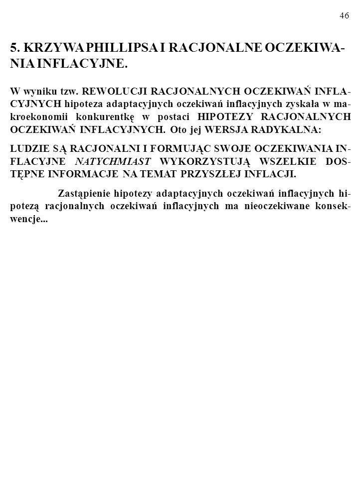 45 Oczekiwania inflacyjne i stagflacja WNIOSKI CD.: W punkcie S na rysunku trwa STAGFLACJA.