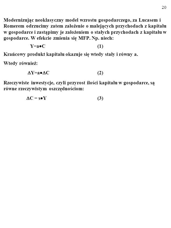 19 C A k=C/L 0 y=Y/L W efekcie nachylenie wykresu makroekonomicznej funkcji pro- dukcji y=f(k) nie musi maleć (zob.