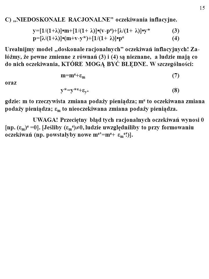 14 y=[1/(1+λ)]m+[1/(1+ λ)](v-p e )+[λ/(1+ λ)]y*(3) p=[λ/(1+λ)](m+v-y*)+[1/(1+ λ)]p e (4) Więc: p e =p(5) oraz y=y*(6) INTERPRETACJA: MNOŻNIK POLITYKI