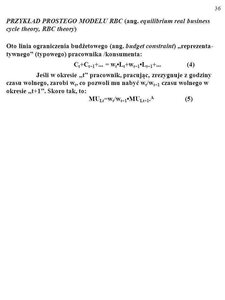 35 PRZYKŁAD PROSTEGO MODELU RBC (ang. equilibrium real business cycle theory, RBC theory) Oto linia ograniczenia budżetowego (ang. budget constraint)