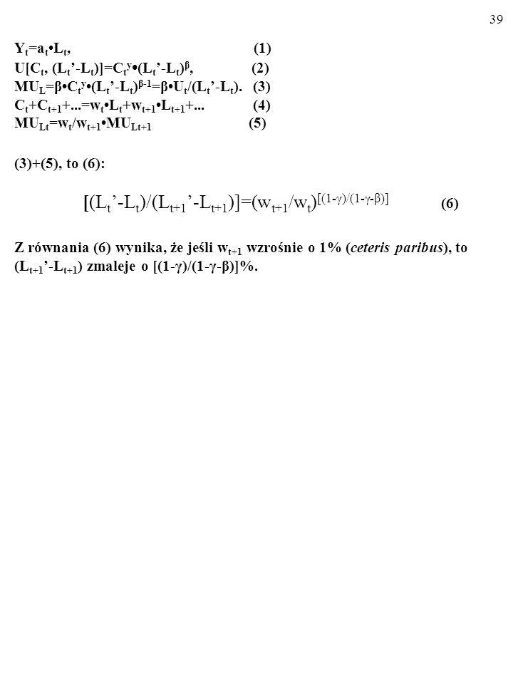 38 Y t =a tL t, (1) U[C t, (L t -L t )]=C t y (L t -L t ) β, (2) MU L =βC t y(L t -L t ) β-1 =βU t /(L t -L t ). (3) C t +C t+1 +...=w tL t +w t+1L t+