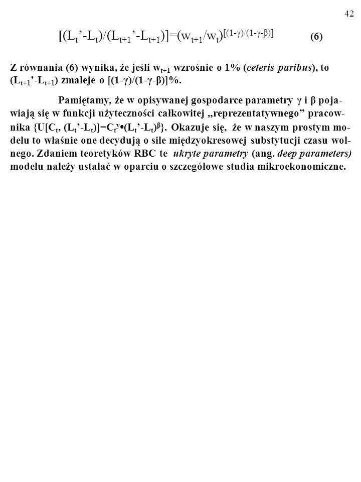 41 (L t -L t )/(L t -L t+1 )=(w t+1 /w t ) [(1-γ)/(1-γ-β)] (6) Jeśli w t+1 wzrośnie o 1% (ceteris paribus), to (L t -L t+1 ) zmaleje o [(1-γ)/(1-γ- β)
