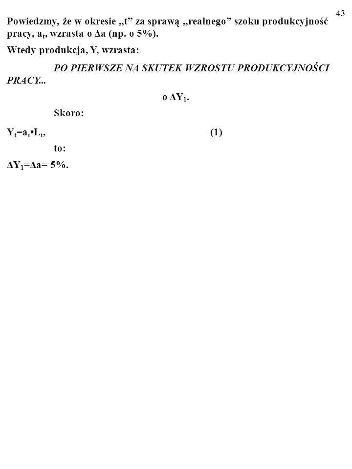 42 [(L t -L t )/(L t+1 -L t+1 )]=(w t+1 /w t ) [(1-γ)/(1-γ-β)] (6) Z równania (6) wynika, że jeśli w t+1 wzrośnie o 1% (ceteris paribus), to (L t+1 -L