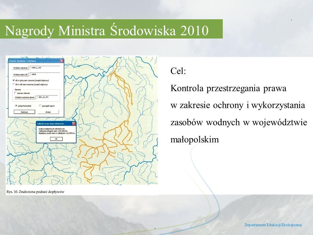 Nagrody Ministra Środowiska 2010 Departament Edukacji Ekologicznej -. Cel: Kontrola przestrzegania prawa w zakresie ochrony i wykorzystania zasobów wo
