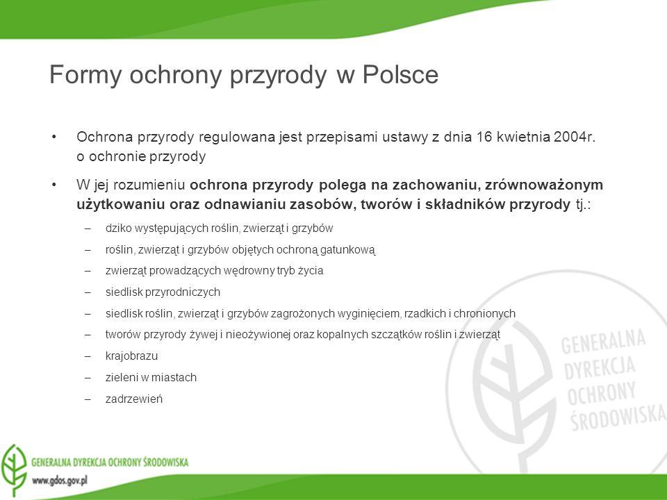 www.gdos.gov.pl Formy ochrony przyrody w Polsce Ochrona przyrody regulowana jest przepisami ustawy z dnia 16 kwietnia 2004r. o ochronie przyrody W jej