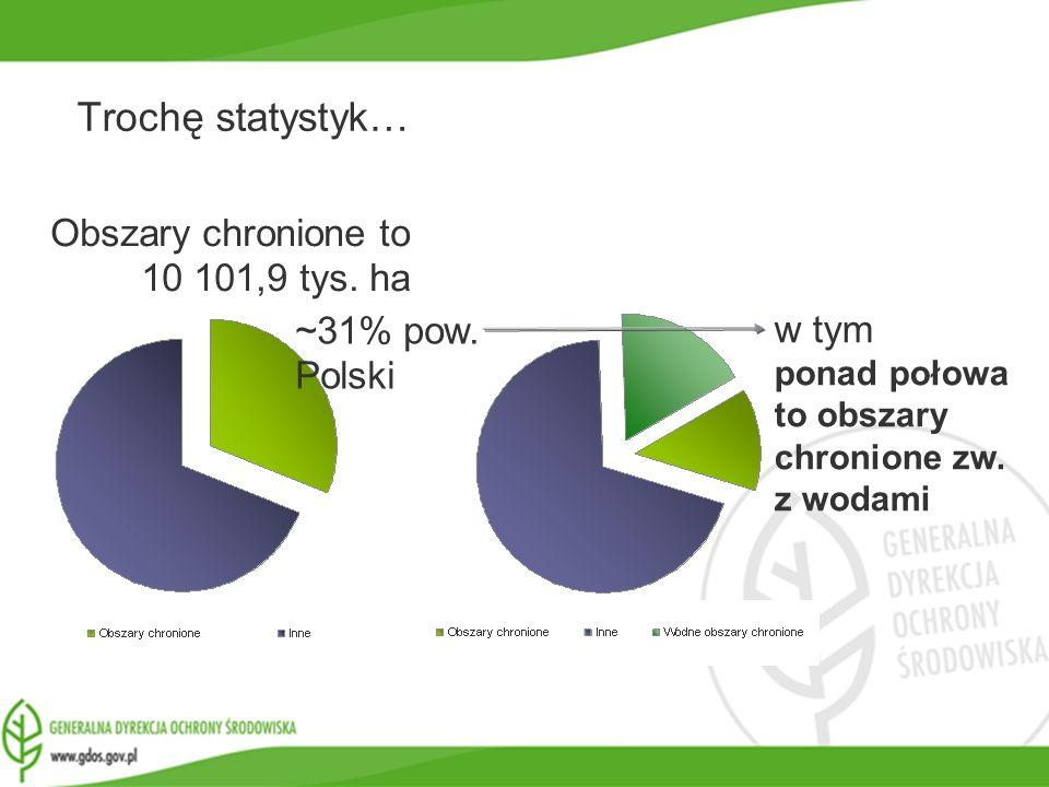 www.gdos.gov.pl Obszary chronione to 10 101,9 tys. ha ~31% pow. Polski w tym ponad połowa to obszary chronione zw. z wodami Trochę statystyk…