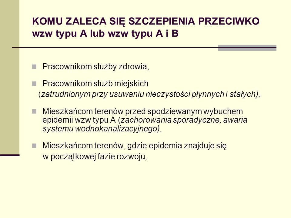 KOMU ZALECA SIĘ SZCZEPIENIA PRZECIWKO wzw typu A lub wzw typu A i B Pracownikom służby zdrowia, Pracownikom służb miejskich (zatrudnionym przy usuwani