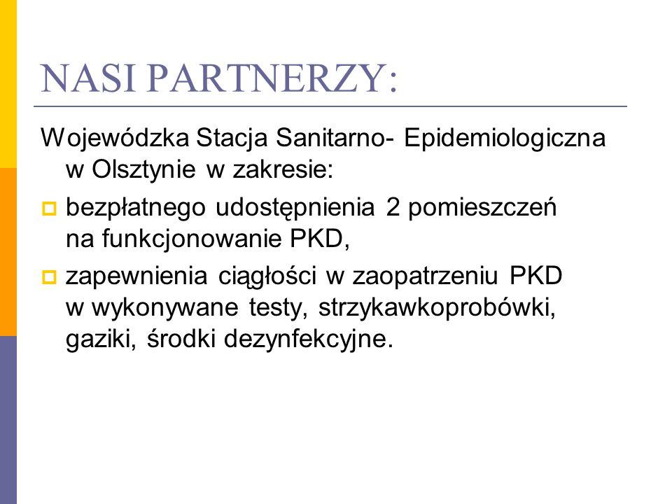 NASI PARTNERZY: Wojewódzka Stacja Sanitarno- Epidemiologiczna w Olsztynie w zakresie: bezpłatnego udostępnienia 2 pomieszczeń na funkcjonowanie PKD, z